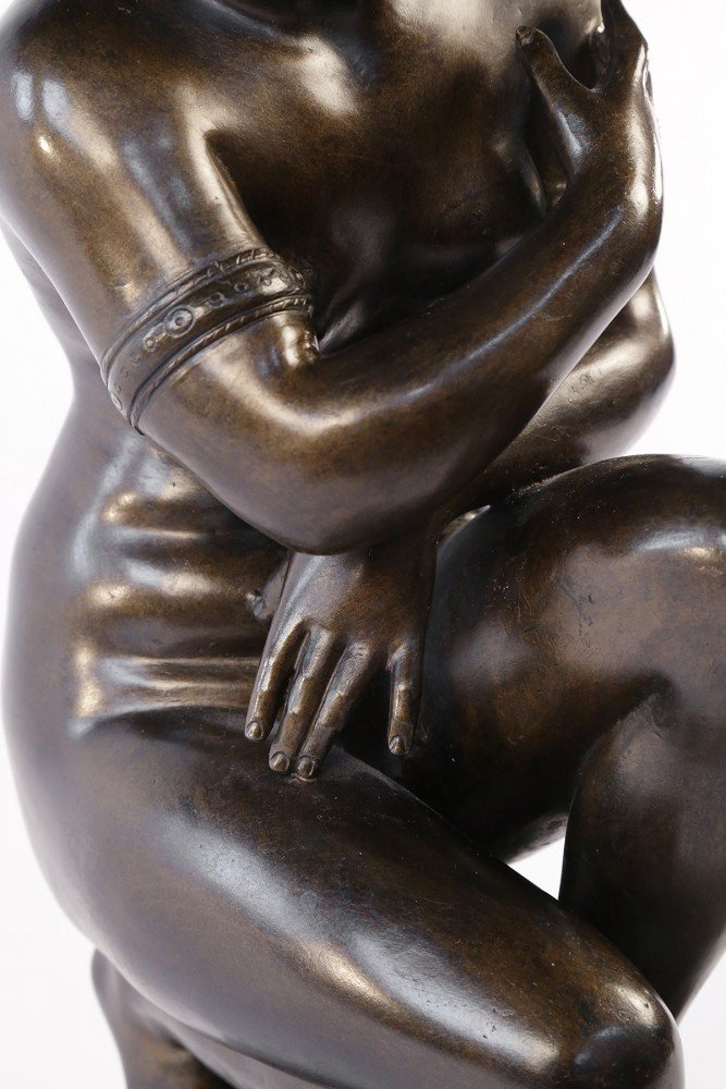Bronze Figure of Crouching Venus, or The Naked Aphrodite by 19th Century Italian School