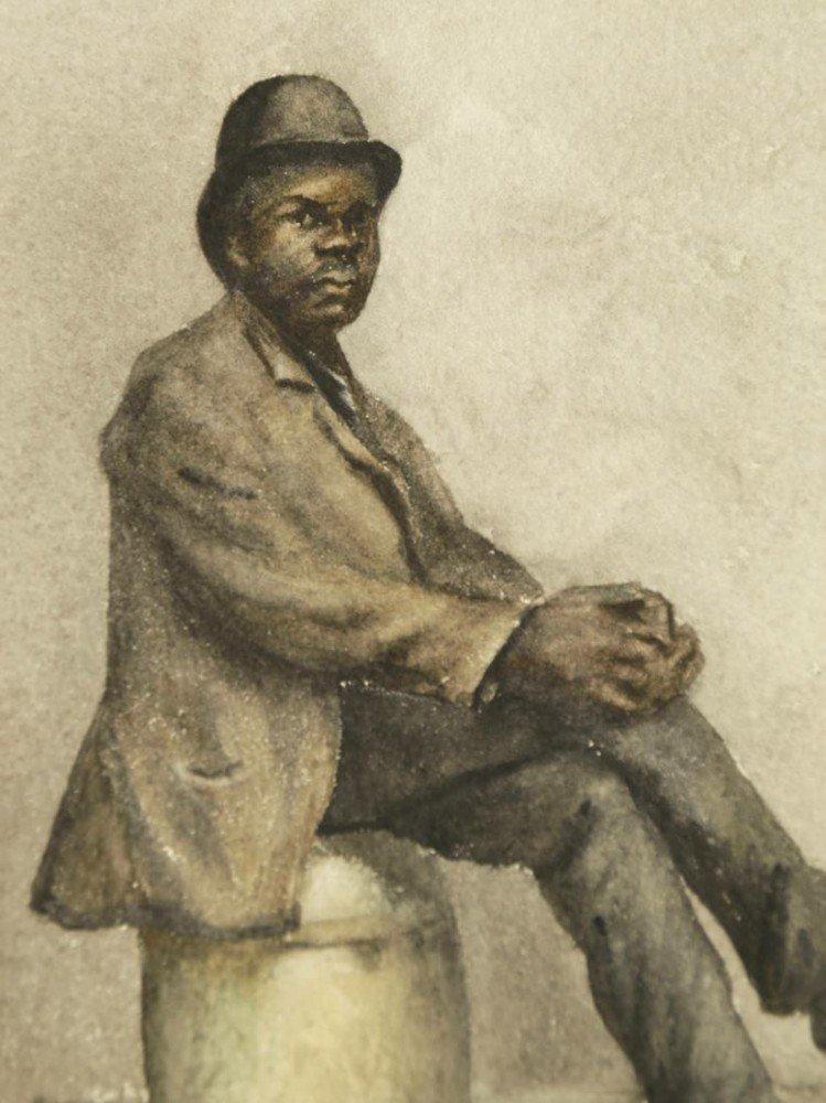 Gentleman Seated on a Barrel by 19th Century American School