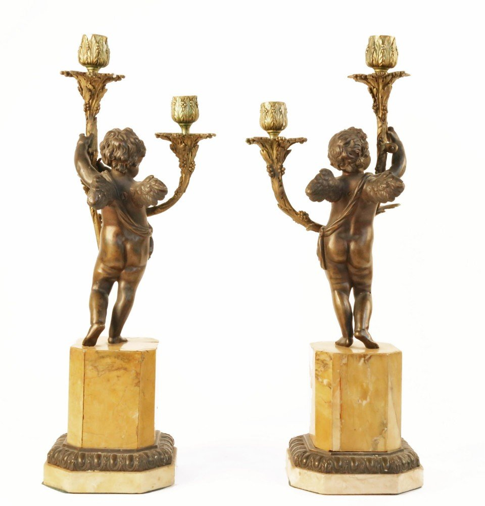 Pair of Bronze and Gilt Bronze Figural Candelabra by 19th Century French School