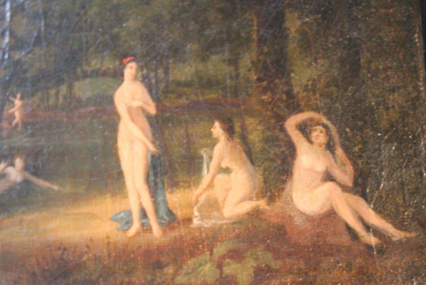 Figurative Landscape Oil on Canvas Painting: