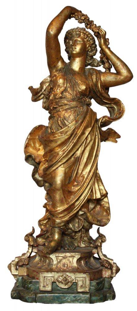 Gilt Metal Figure of a Goddess, Flora