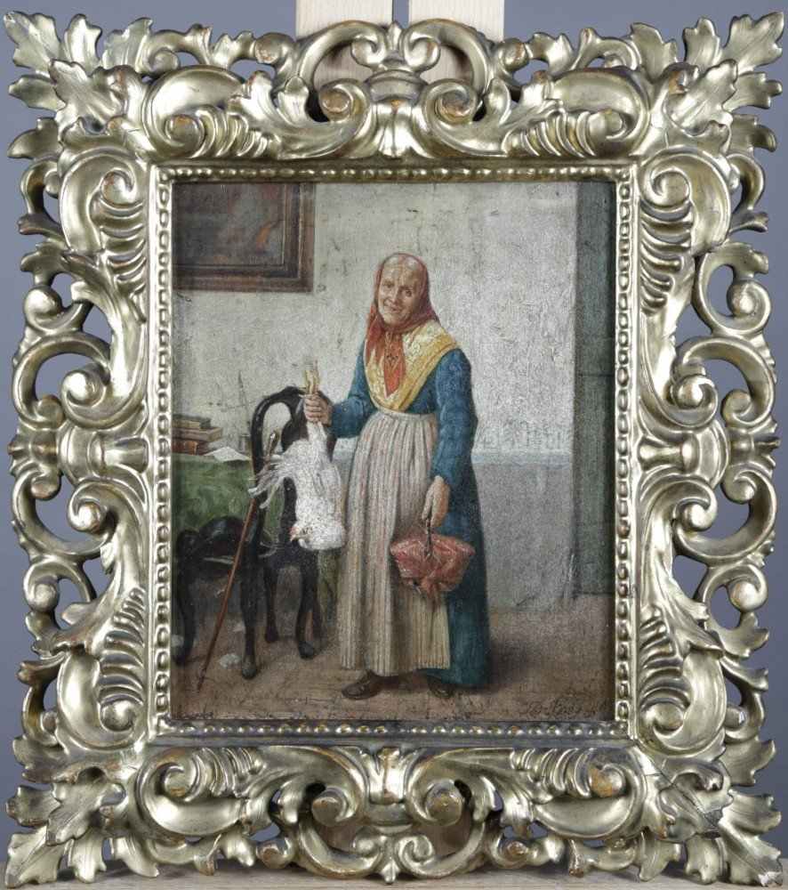 Old Woman with Chicken by 19th Century Italian School
