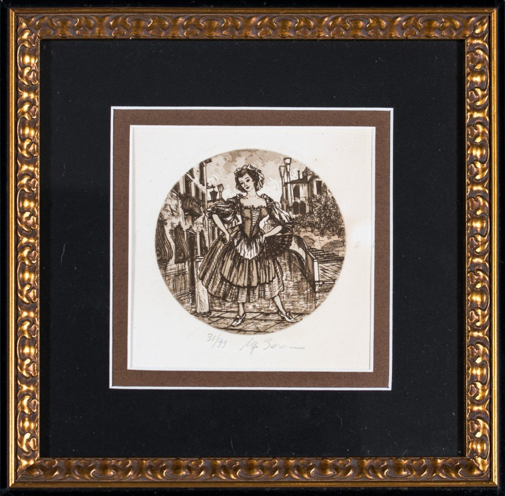Four Etchings of Figures from Commedia dell 'Arte Lion of St. Mark