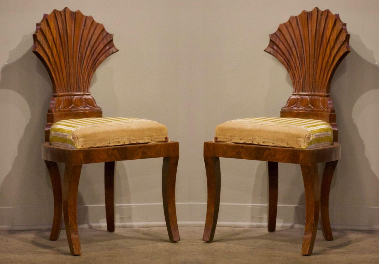 Pair of Biedermeier Carved Side Chairs
