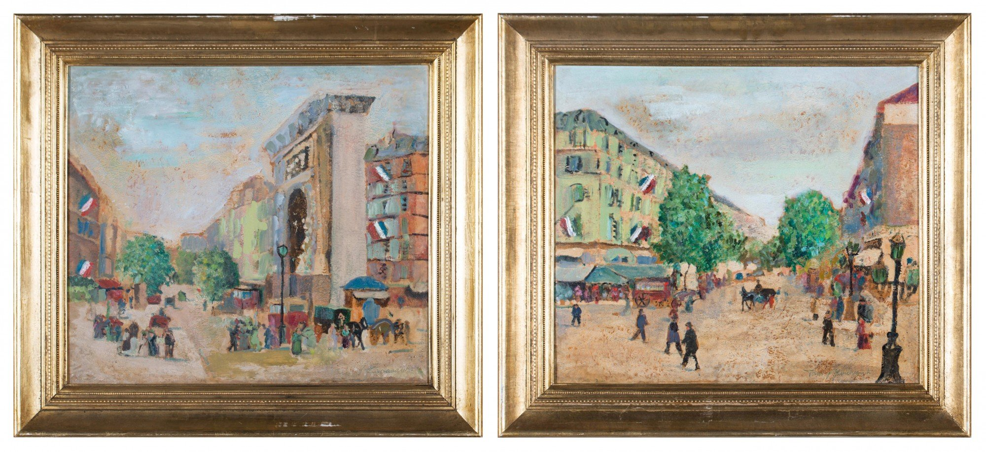 Pair of French Street Scenes