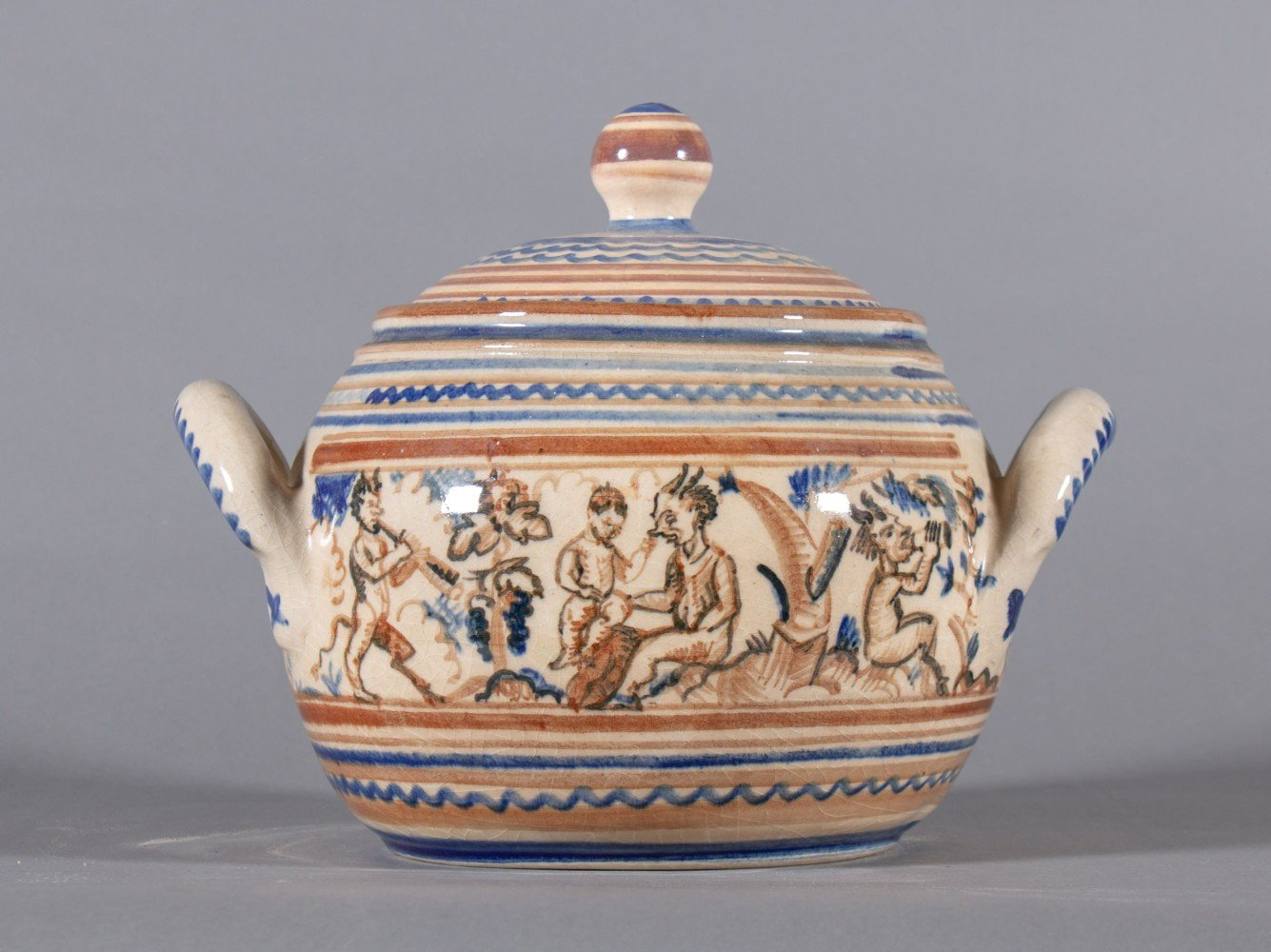 Covered Tureen, Hand Decorated Ceramic