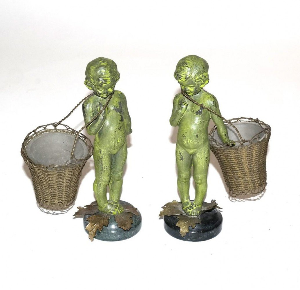 Pair of 19th Century Bronze Cupid Figures, Each Having a Basket for Condiments
