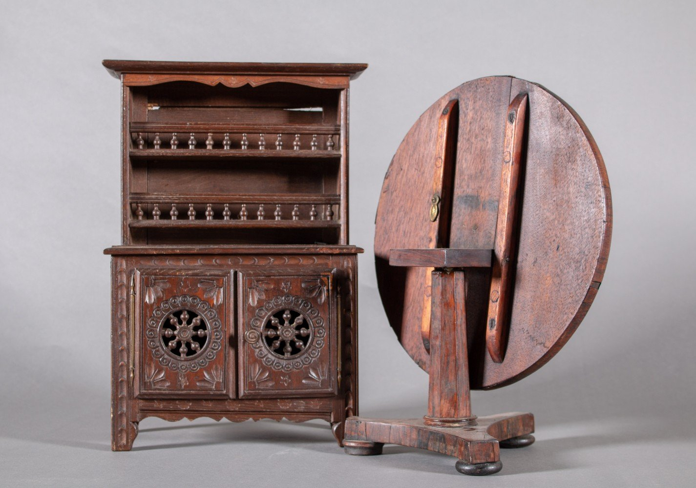 Two Pieces of Miniature Antique Furniture