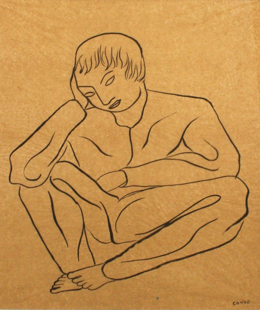 Two Ink Drawings, Man Sitting and Laboring Man