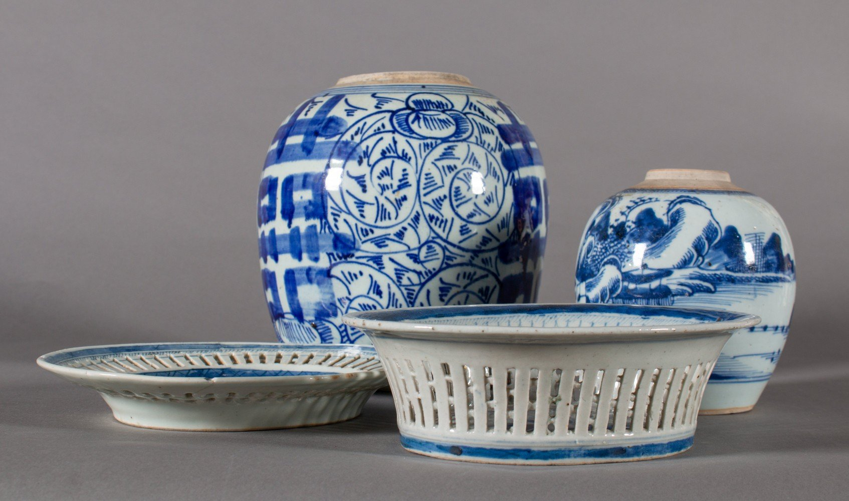 Three Pieces of Decorated Chinese Porcelain