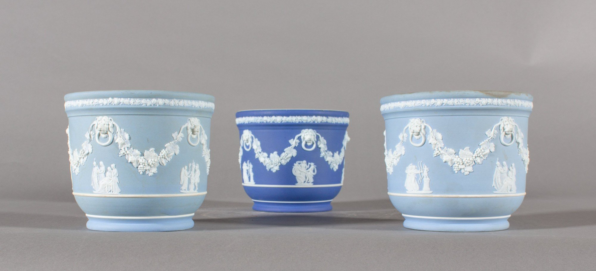 Three Wedgewood Urns, Hand Decorated