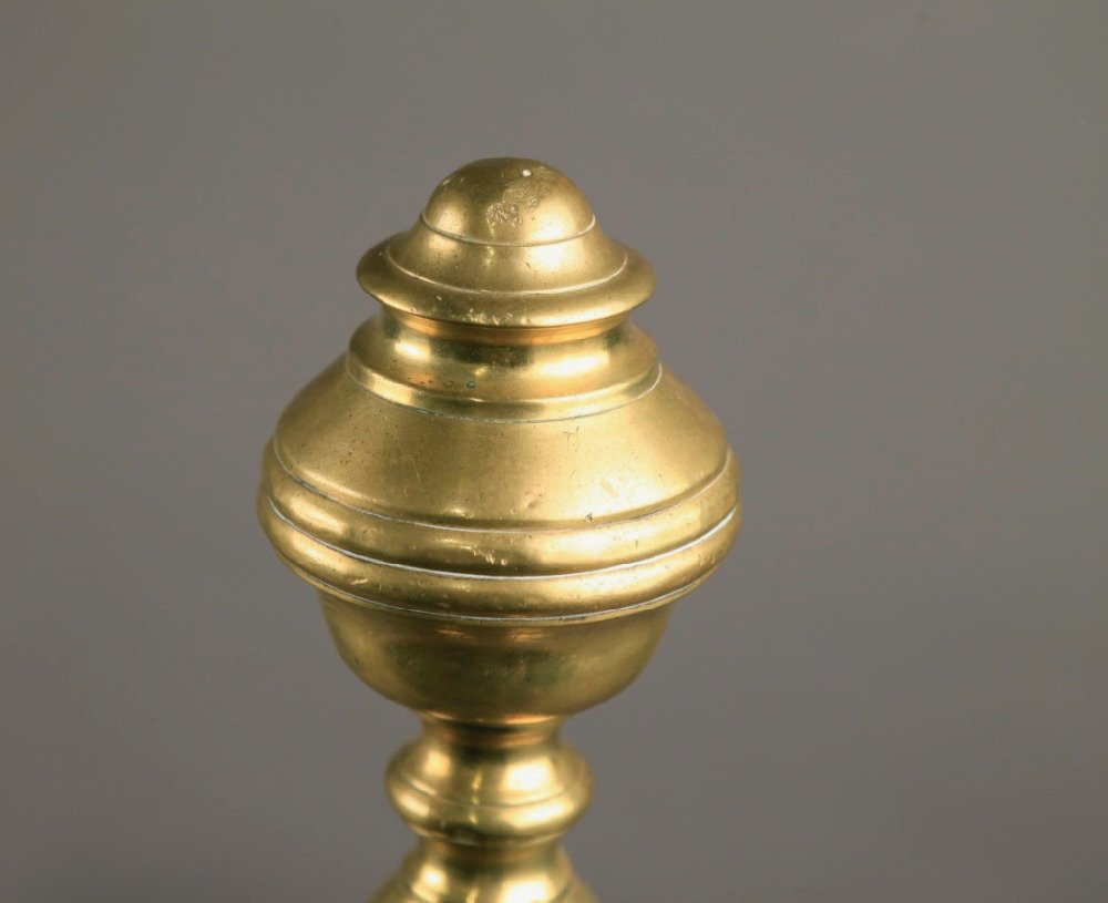 Pair of Antique Brass Andirons, 19thc.
