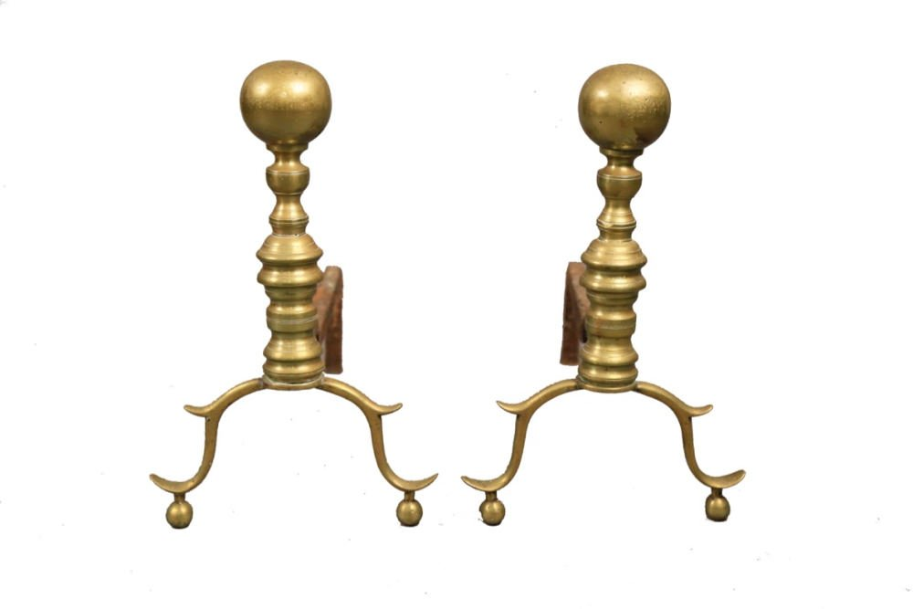 Pair of Antique Brass Andirons, 19thc.