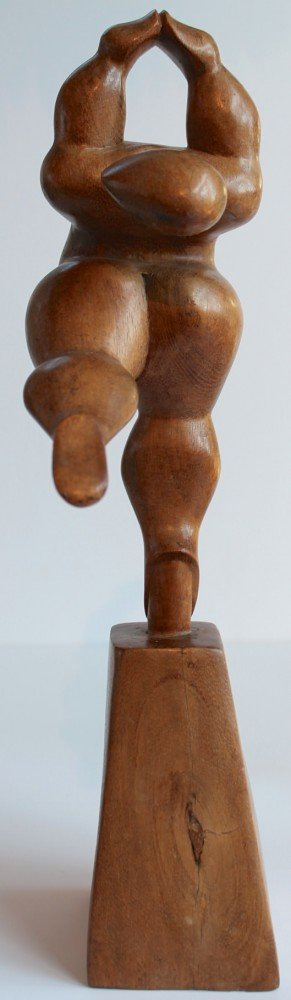 20th Century Carved Wooden Figures of Female Dancers