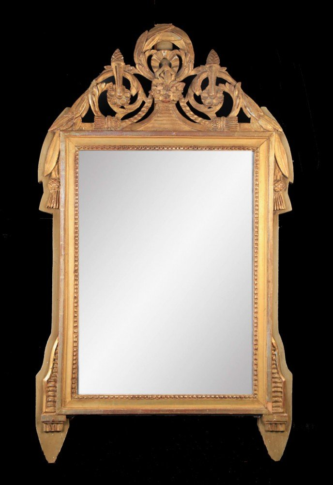 Gilt Wood Decorative Art: Louis XVIth Gilt Wood Mirror