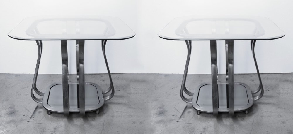 Pair of Metal and glass end tables, modern