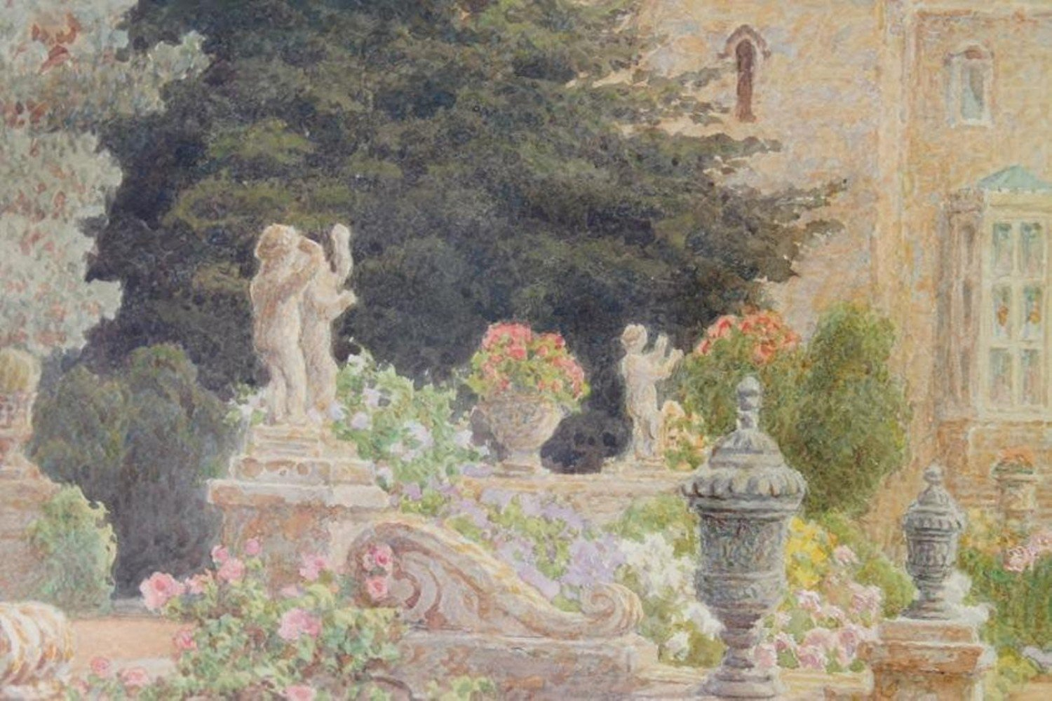 Thomas Henry Hunn (British 1857-1928)  Wilton, Garden Steps with Outdoor Sculpture and View to the House