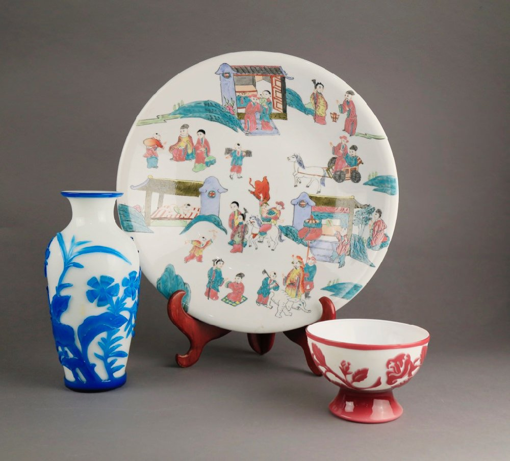 Chinese Polychrome Glaze Porcelain Plate and Two Peking Glass Vases