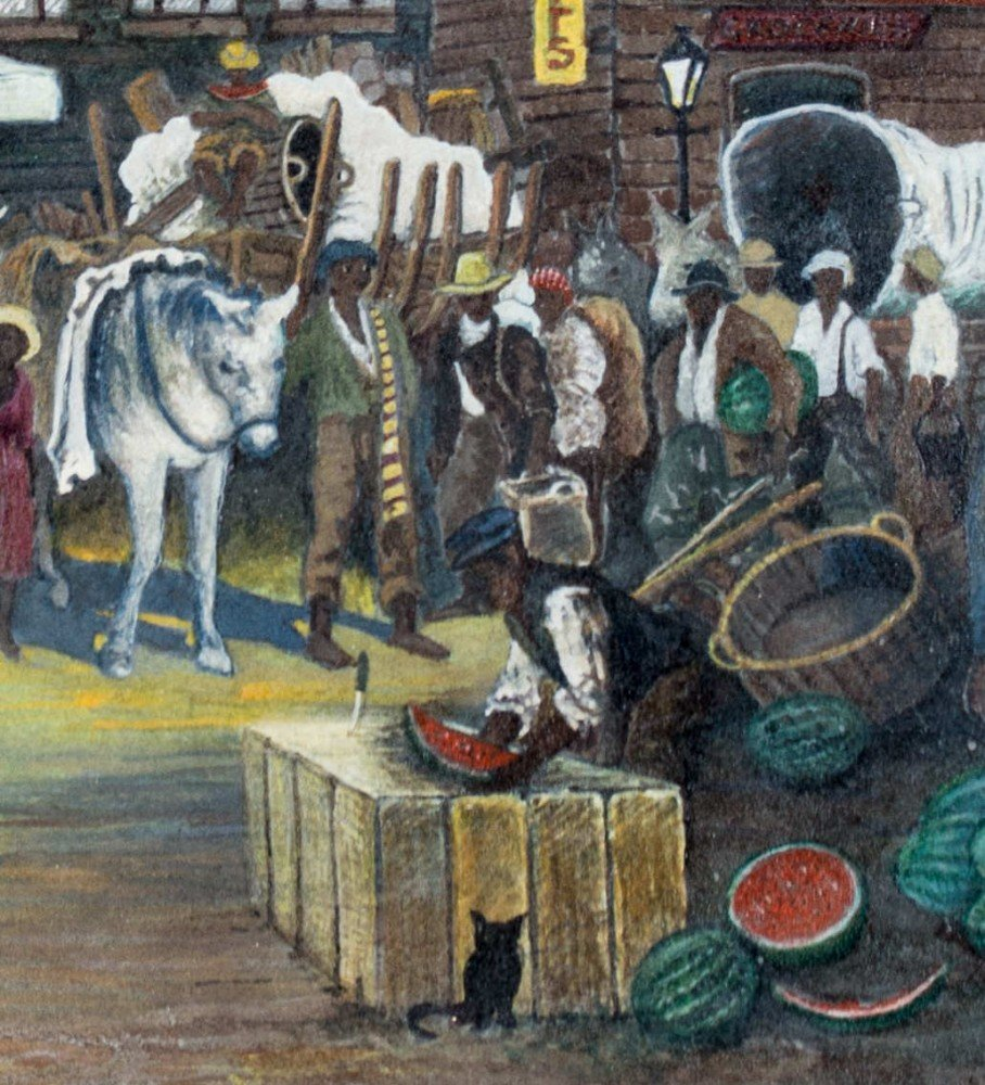 New Orleans Market Scene - Attributed to Palmer Hayden  by Palmer Hayden