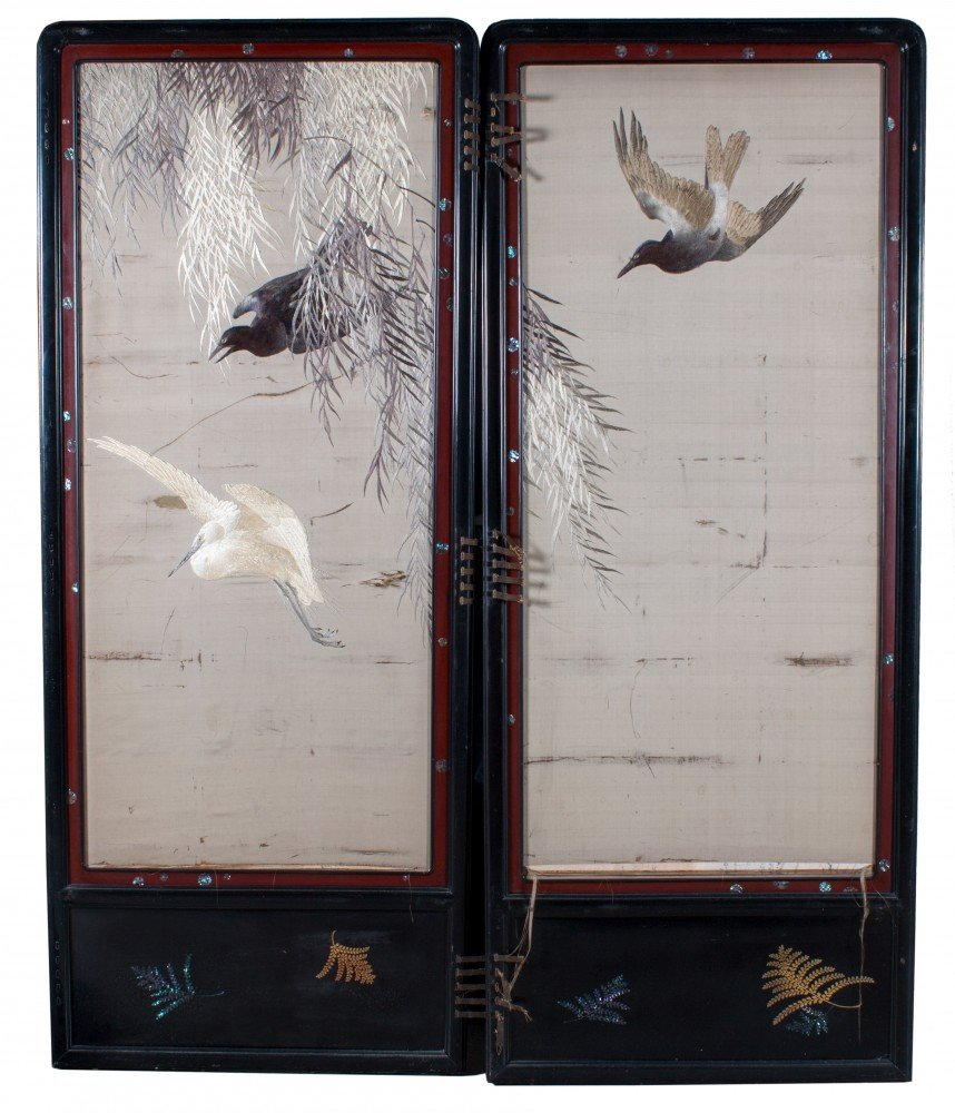 Two Panel Screen, 19th Century Japanese Silk Embroidery, Birds in Flight