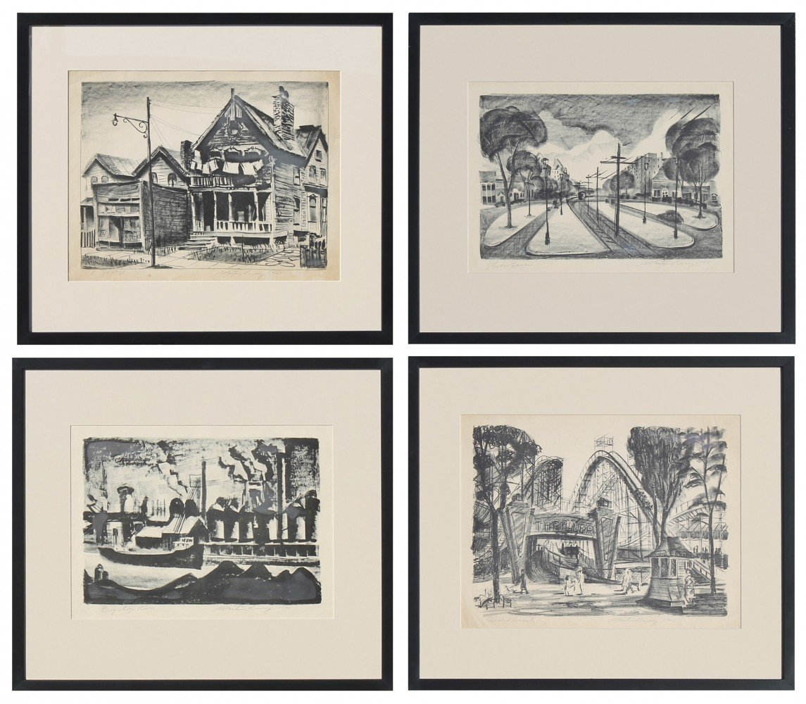 Four lithographs of Cleveland sites, 1946 by Martin Louis Linsey