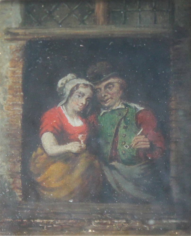 Through the Tavern Window-18th/19thc. Dutch School, a Pair of Paintings by 18thc. Dutch School