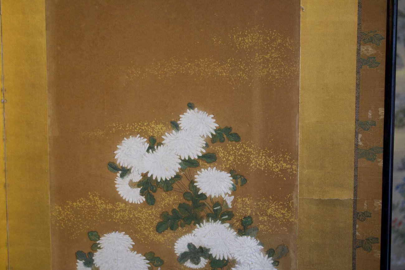 19th Century Japanese Two Panel Screen with Peonies, Meiji Period