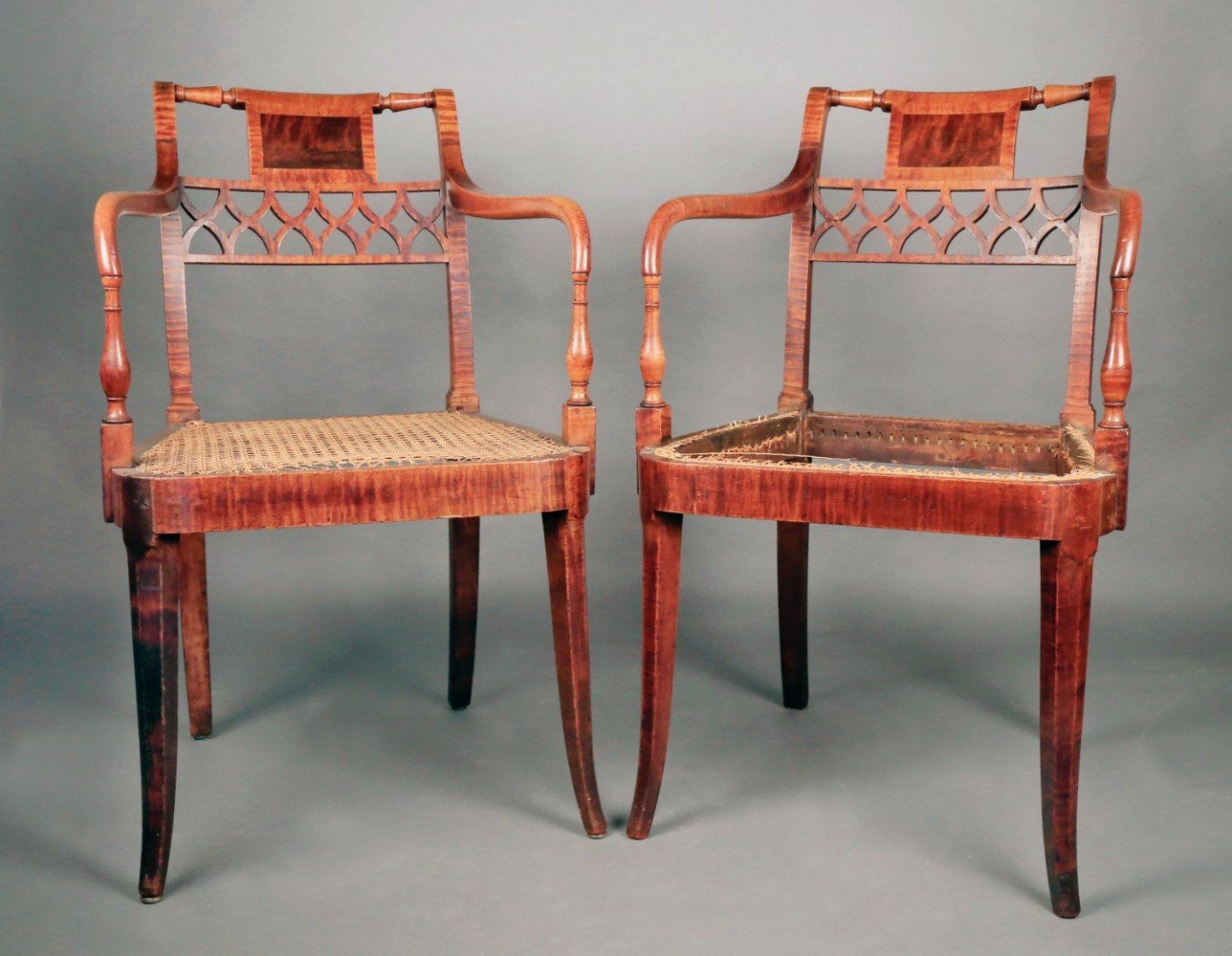 Fine Pair  of American Sheraton Tiger Maple Armchairs