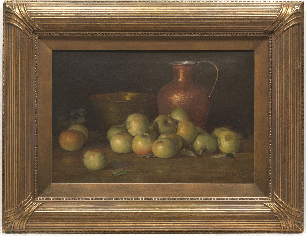 Still Life with Green Apples and Copper Vessels by Adam Lehr