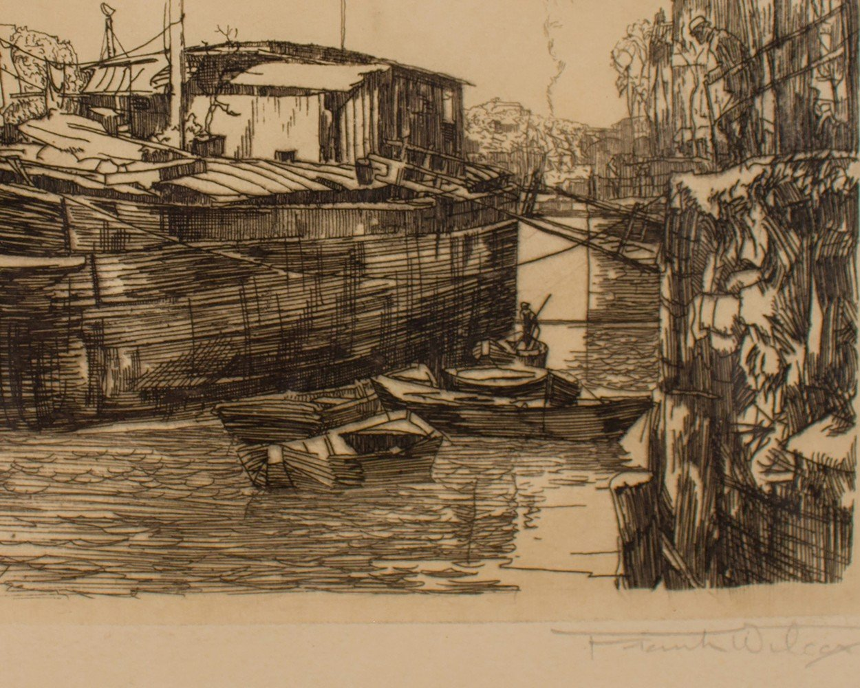 Landscape Etching On Paper Painting: