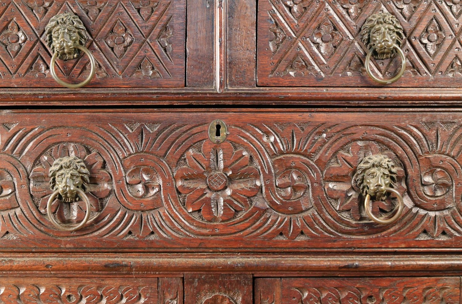 A Jacobean Style Oak Chest of Drawers, 18thc.
