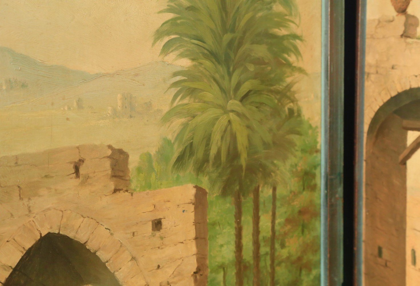 A Four Panel Painted Screen Depicting an Exotic Landscape