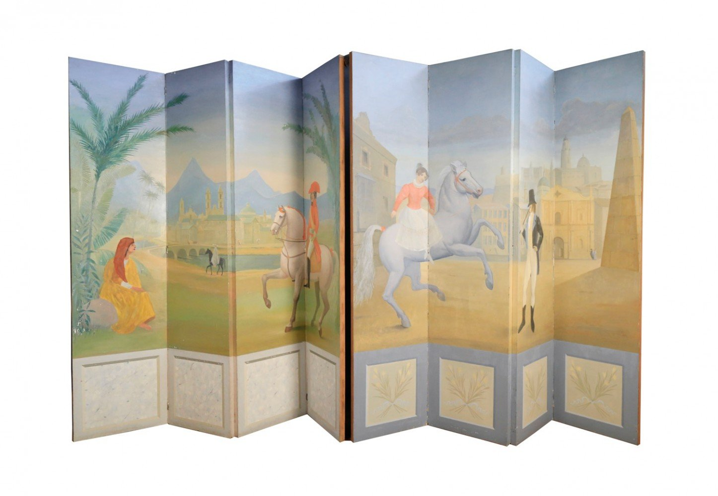A Pair of Four Panel Handpainted Screens, 20thc.
