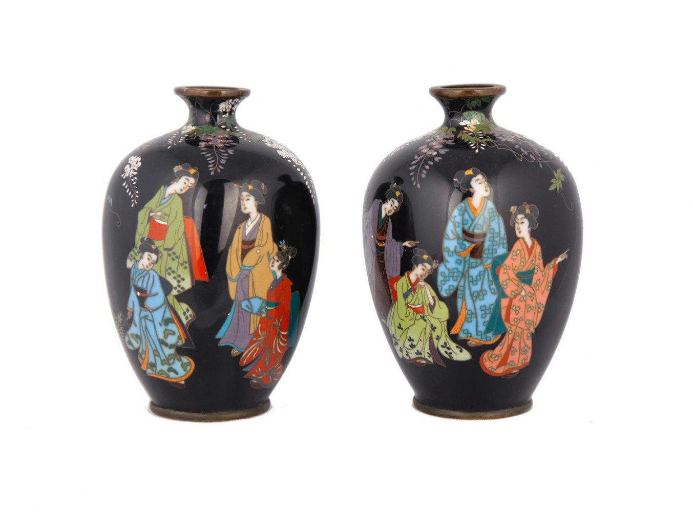 A Pair of Japanese Cloisonne Cabinet Vases