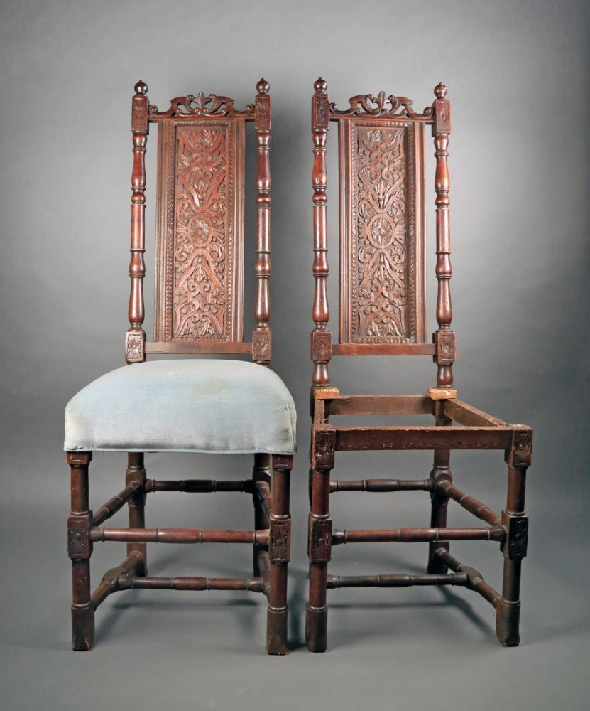 Two English Oak Side Chairs, William and Mary, c.1700