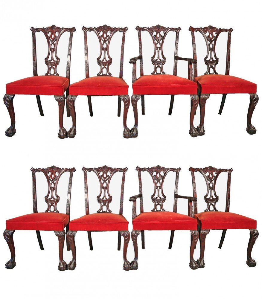 Set of 8 Chippendale Style Mahogany Dining Chairs c.1920's