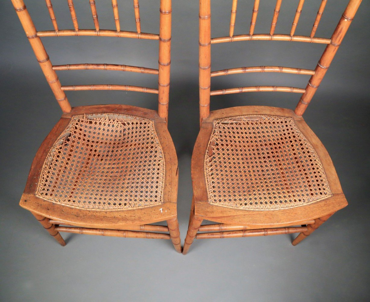 Pair Faux Bamboo Ballroom Chairs, Early 19thc.