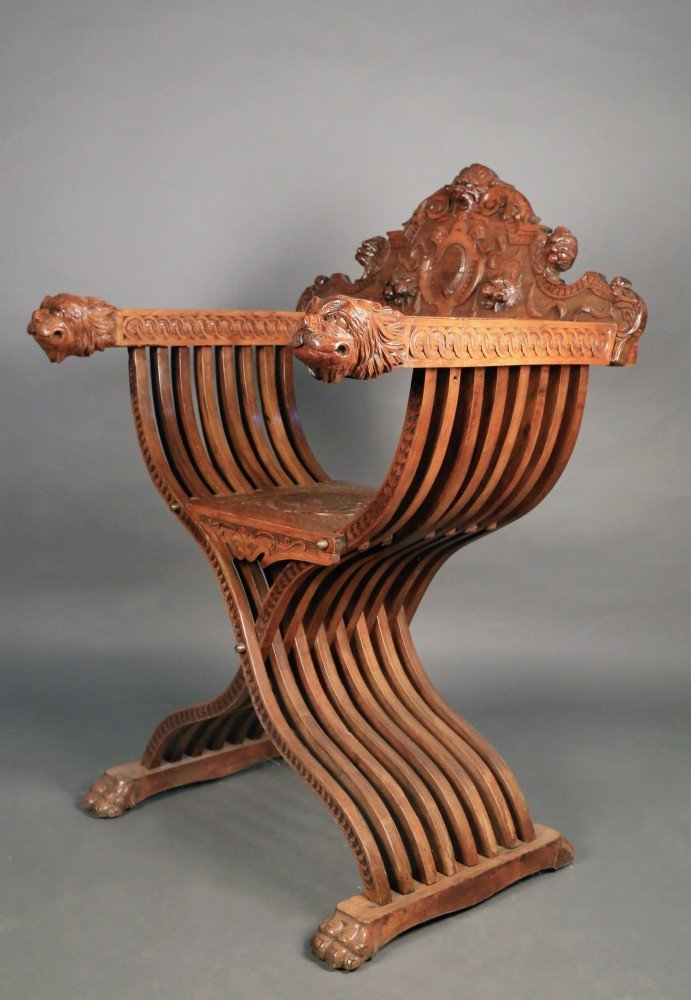 Italian Savanarola or curule chair, 19thc.