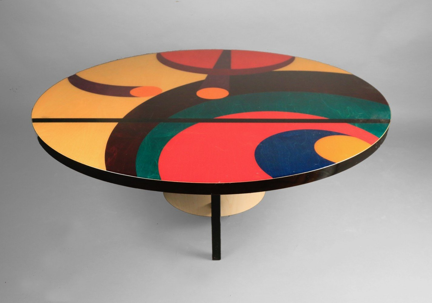 Inlaid and Stained Wood Coffee Table