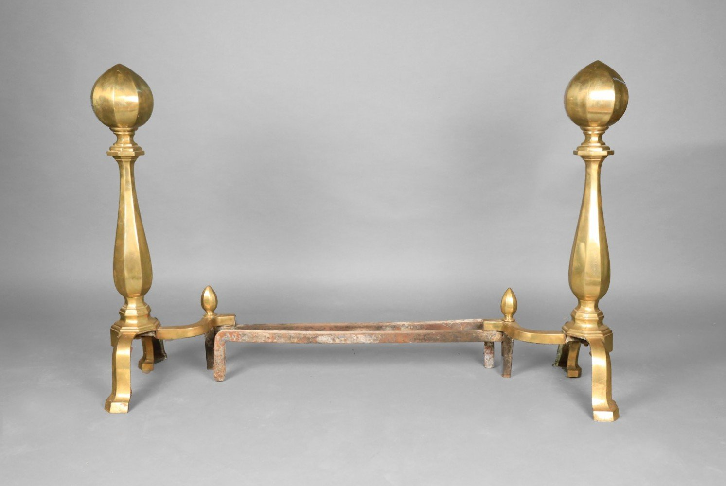 Large Pair of Brass Andirons, 19thc