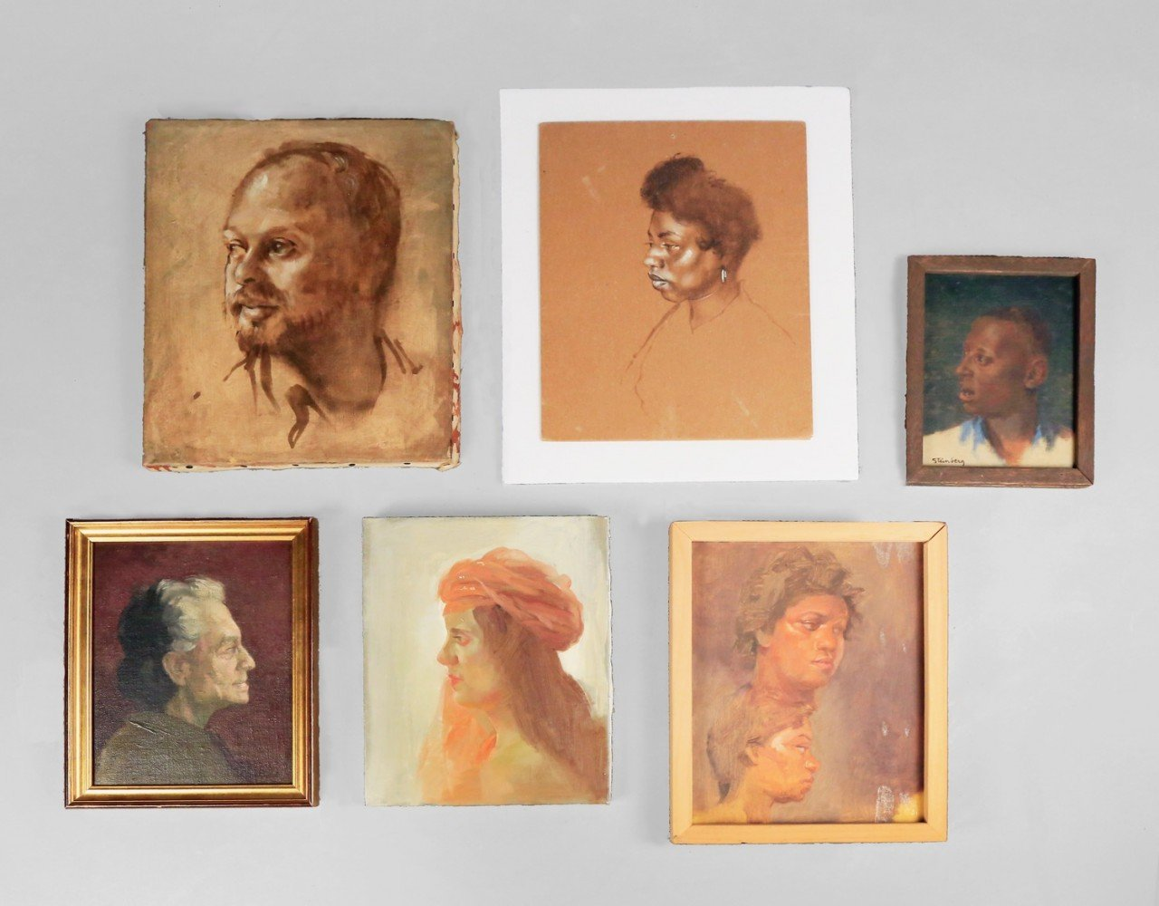 Lot of Seven Portraits by Herbert Steinberg (American 20thc.)