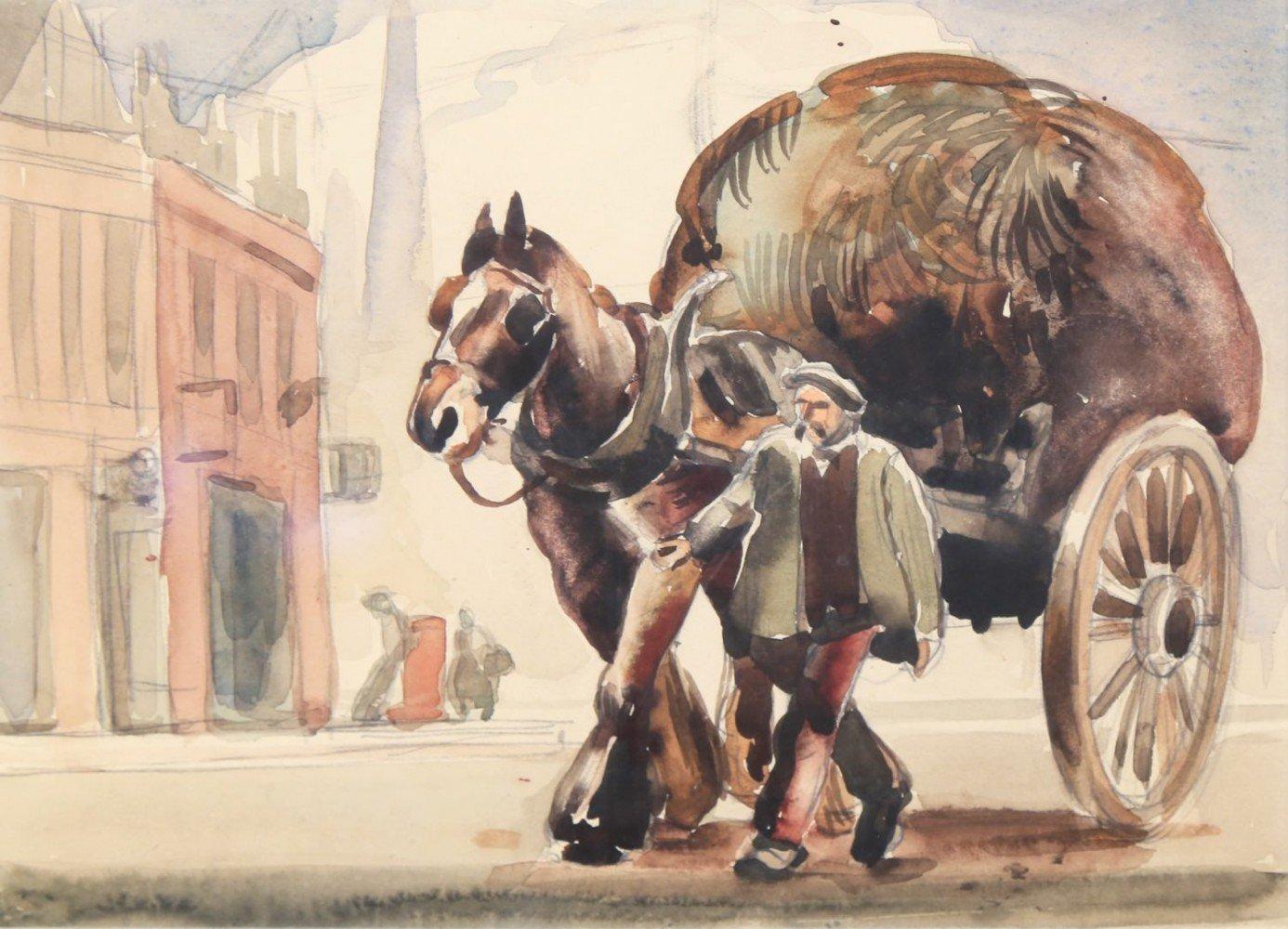 Farmer with Horse Drawn Haycart by Paul Ulen