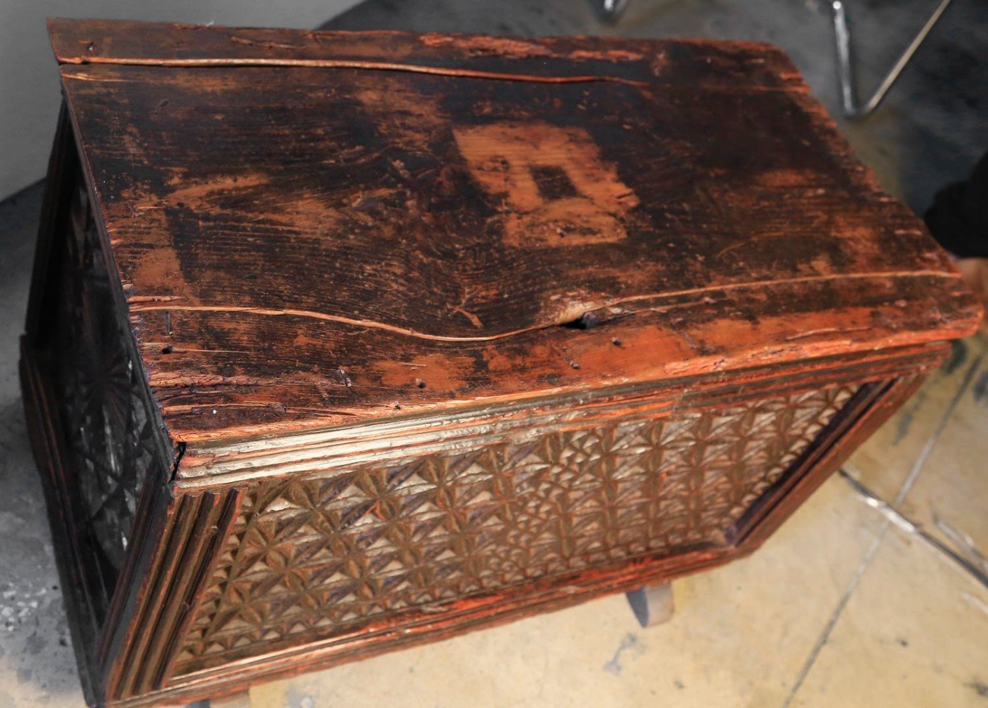 Carved Walnut Coffer, c. 16thc.
