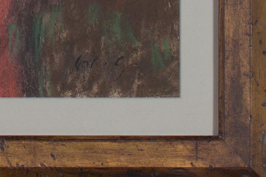 Figurative Pastel on Board Drawing: