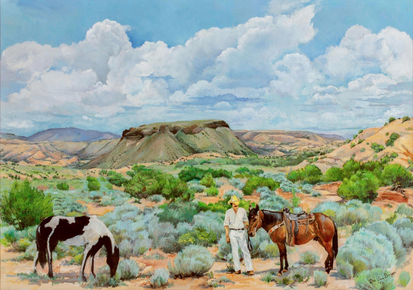 Large American Western Landscape with Figures in Foreground