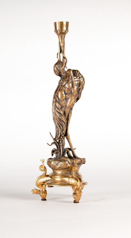A Pair of Figural Bronze Stork Candlesticks by Jules Moigniez