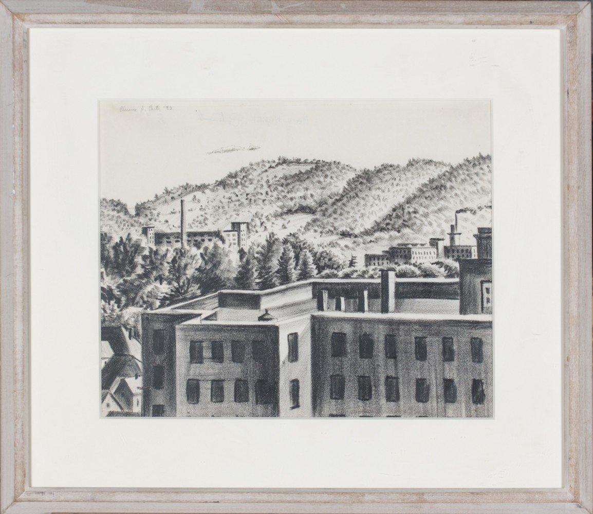 Landscape Conté on Paper Drawing: