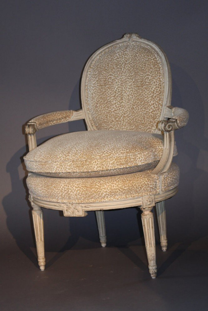 A Pair of Louis XVth Painted Fauteuils, 18thc.
