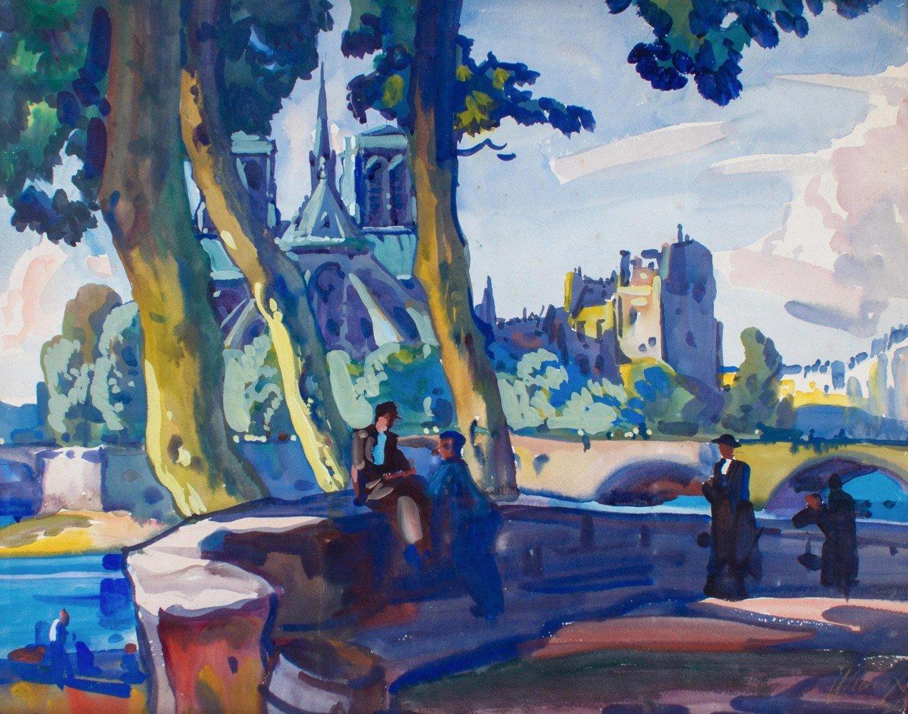 Notre Dame from the Île de la Cité, Paris, France by Frank Nelson Wilcox