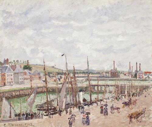 Bassins Duquesne et Berrigny á Dieppe, temps gris by Camille Pissarro